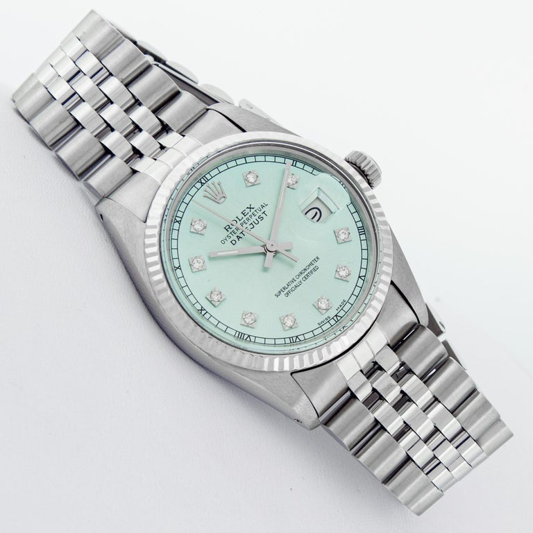 Round Cut Rolex Men's Datejust Stainless Steel and White Gold Ice Blue Fluted Bezel Watch For Sale