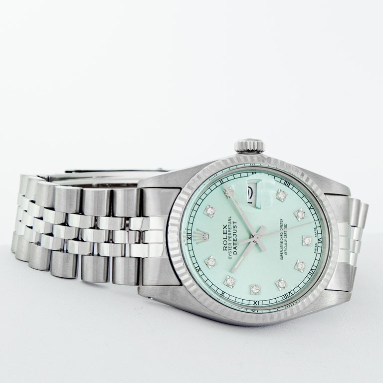 Women's or Men's Rolex Men's Datejust Stainless Steel and White Gold Ice Blue Fluted Bezel Watch For Sale