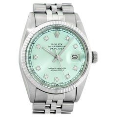 Rolex Men's Datejust Stainless Steel and White Gold Ice Blue Fluted Bezel Watch