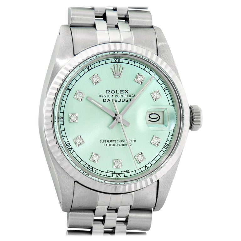 Rolex Men's Datejust Stainless Steel and White Gold Ice Blue Fluted Bezel Watch For Sale