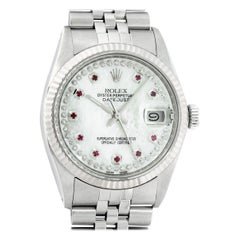Rolex Men's Datejust Stainless Steel MOP Ruby String Diamond Fluted Bezel Watch