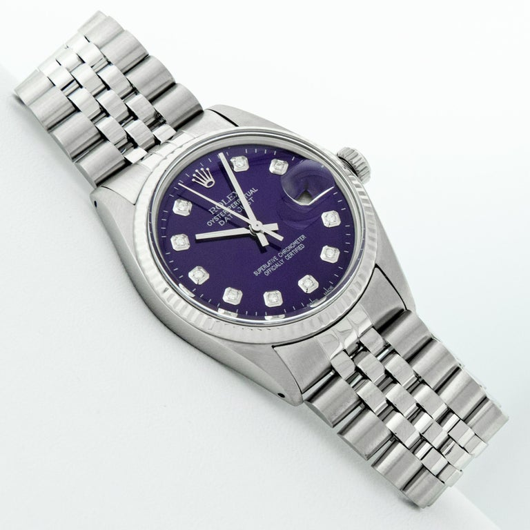 Round Cut Rolex Men's Datejust Stainless Steel Purple Diamond Fluted Bezel Watch For Sale