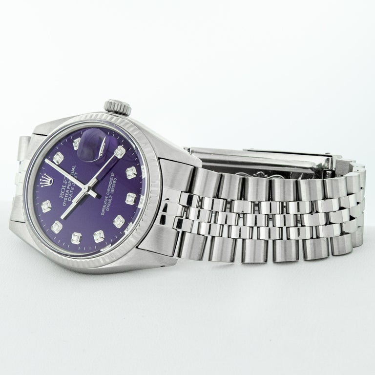 Rolex Men's Datejust Stainless Steel Purple Diamond Fluted Bezel Watch In Good Condition For Sale In Los Angeles, CA