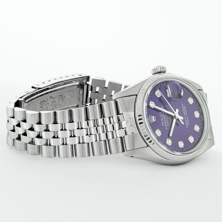 Rolex Men's Datejust Stainless Steel Purple Diamond Fluted Bezel Watch For Sale 1