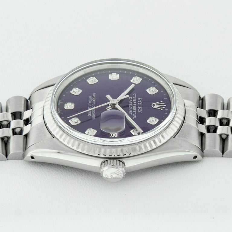 Rolex Men's Datejust Stainless Steel Purple Diamond Fluted Bezel Watch For Sale 2