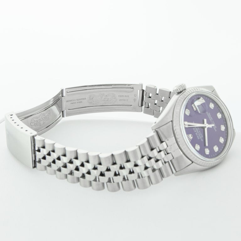 Rolex Men's Datejust Stainless Steel Purple Diamond Fluted Bezel Watch For Sale 3