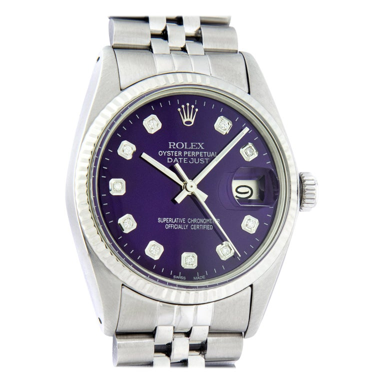 Rolex Men's Datejust Stainless Steel Purple Diamond Fluted Bezel Watch For Sale
