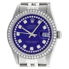Rolex Men's Datejust Stainless Steel Purple String Diamond Wristwatch with Box