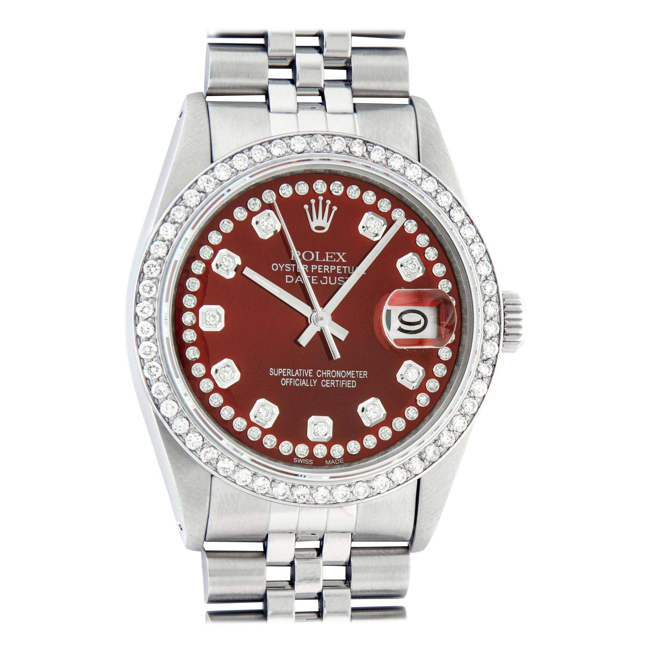 Rolex Men's Datejust Stainless Steel Red String Diamond Wristwatch