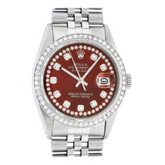 Rolex Men's Datejust Stainless Steel Red String Diamond Wristwatch