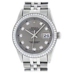 Rolex Men's Datejust Stainless Steel Slate Grey Diamond Wristwatch