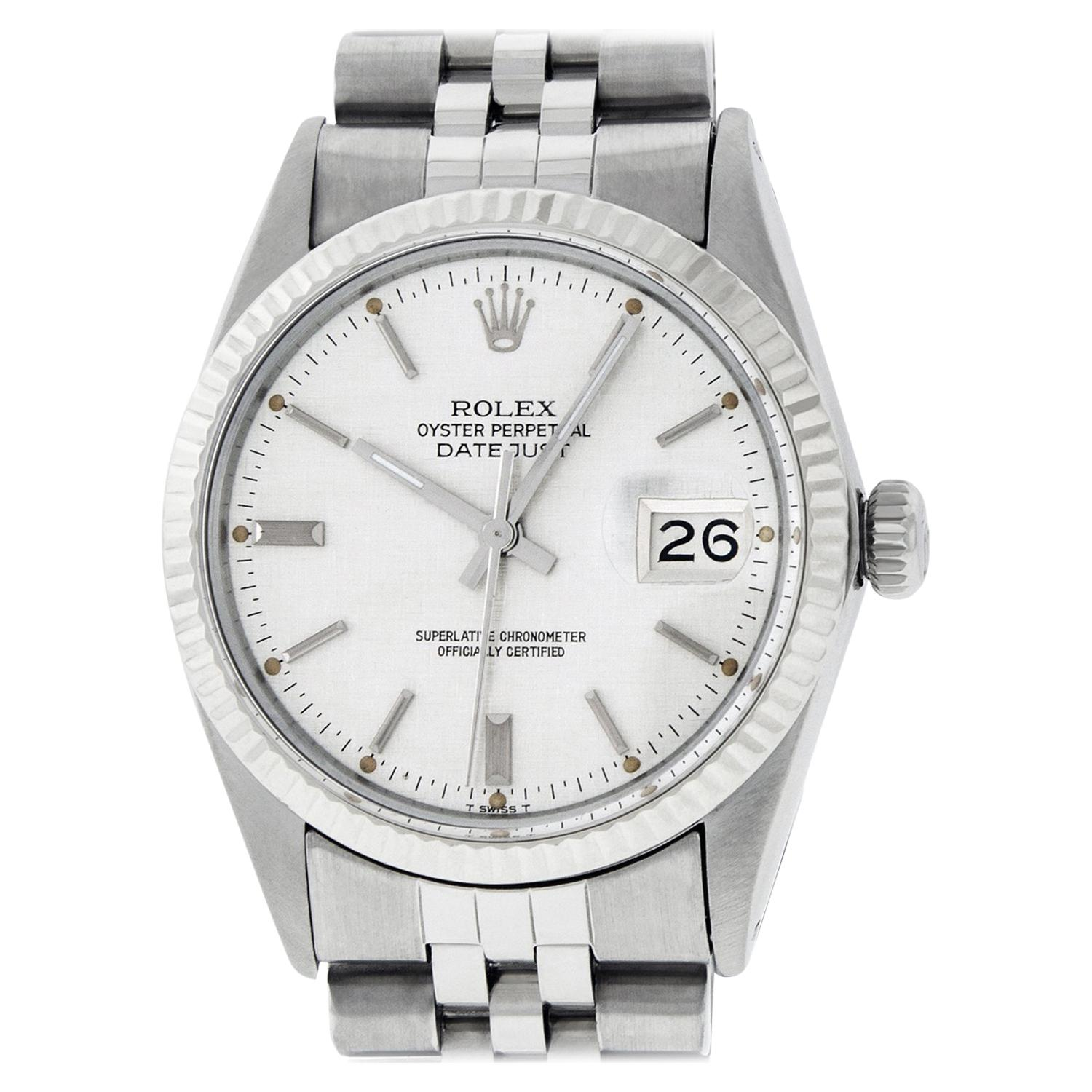 Rolex Mens Datejust Watch 16014 SS/18K White Gold Silver Index Dial Fluted Bezel