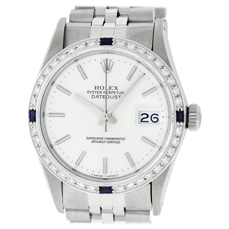 Rolex Men's Datejust Watch S/S & 18 Karat Gold Silver Index Dial Diamond Bezel