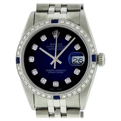 Rolex Men's Datejust Watch S/S & 18 Karat White Gold Blue Vignette Diamond Dial