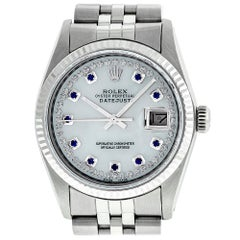 Rolex Men's Datejust Watch S/S and Gold MOP Diamond and Sapphire Dial Fluted