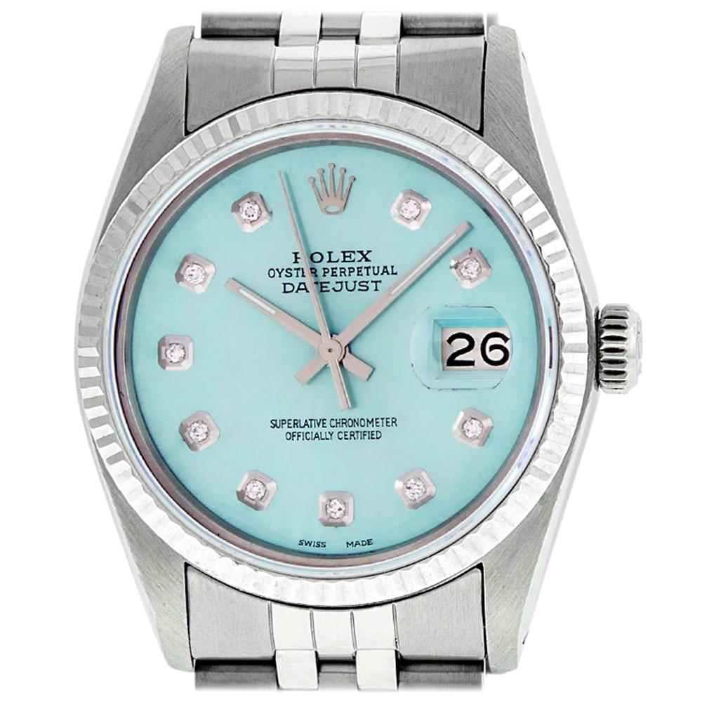 Rolex Men's Datejust Watch S/S and White Gold Ice Blue Diamond Dial Fluted Bezel