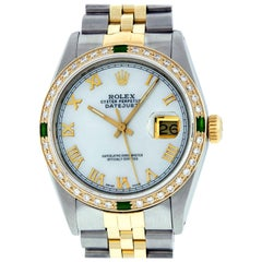 Rolex Men's Datejust Watch SS / 18 Karat Gold MOP Roman Dial Emerald Bezel