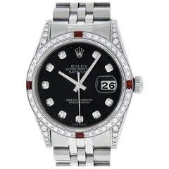Rolex Men's Datejust Watch SS and 18 Karat Gold Black Diamond Dial Ruby Bezel