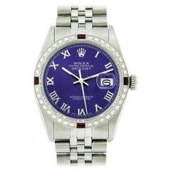 Rolex Men's Datejust Watch SS and 18 Karat Gold Purple Roman Dial Diamond Bezel