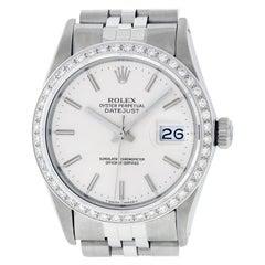 Rolex Men's Datejust Watch SS and 18 Karat Gold Silver Index Dial Diamond Bezel