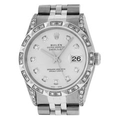 Rolex Men's Datejust Watch SS and 18 Karat White Gold Yellow Silver Diamond Dial