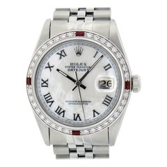 Rolex Men's Datejust Watch SS and 18K White Gold MOP Roman Dial Diamond Bezel