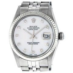 Rolex Men's Datejust Watch SS / White Gold White MOP Diamond Dial Fluted Bezel