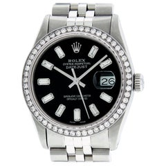 Rolex Men's Datejust Watch Stainless Steel Black Baguette Diamond Dial