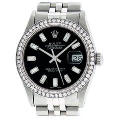 Rolex Men's Datejust Watch Stainless Steel Black Baguette Diamond Dial