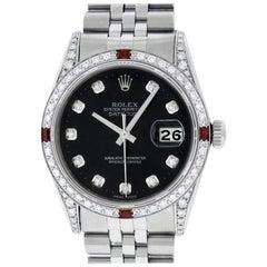 Rolex Men's Datejust Watch SS and 18K White Gold Black Diamond Dial Ruby Bezel