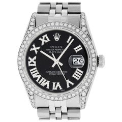 Rolex Men's Datejust Watch Stainless Steel Black Diamond Roman Dial Ruby