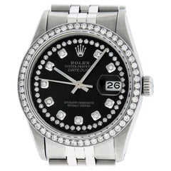 Rolex Men's Datejust Watch Stainless Steel Black String Diamond Dial