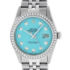 Rolex Men's Datejust Watch Stainless Steel Blue Diamond Dial
