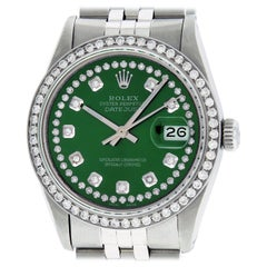 Rolex Men's Datejust Watch Stainless Steel Green String Diamond Dial