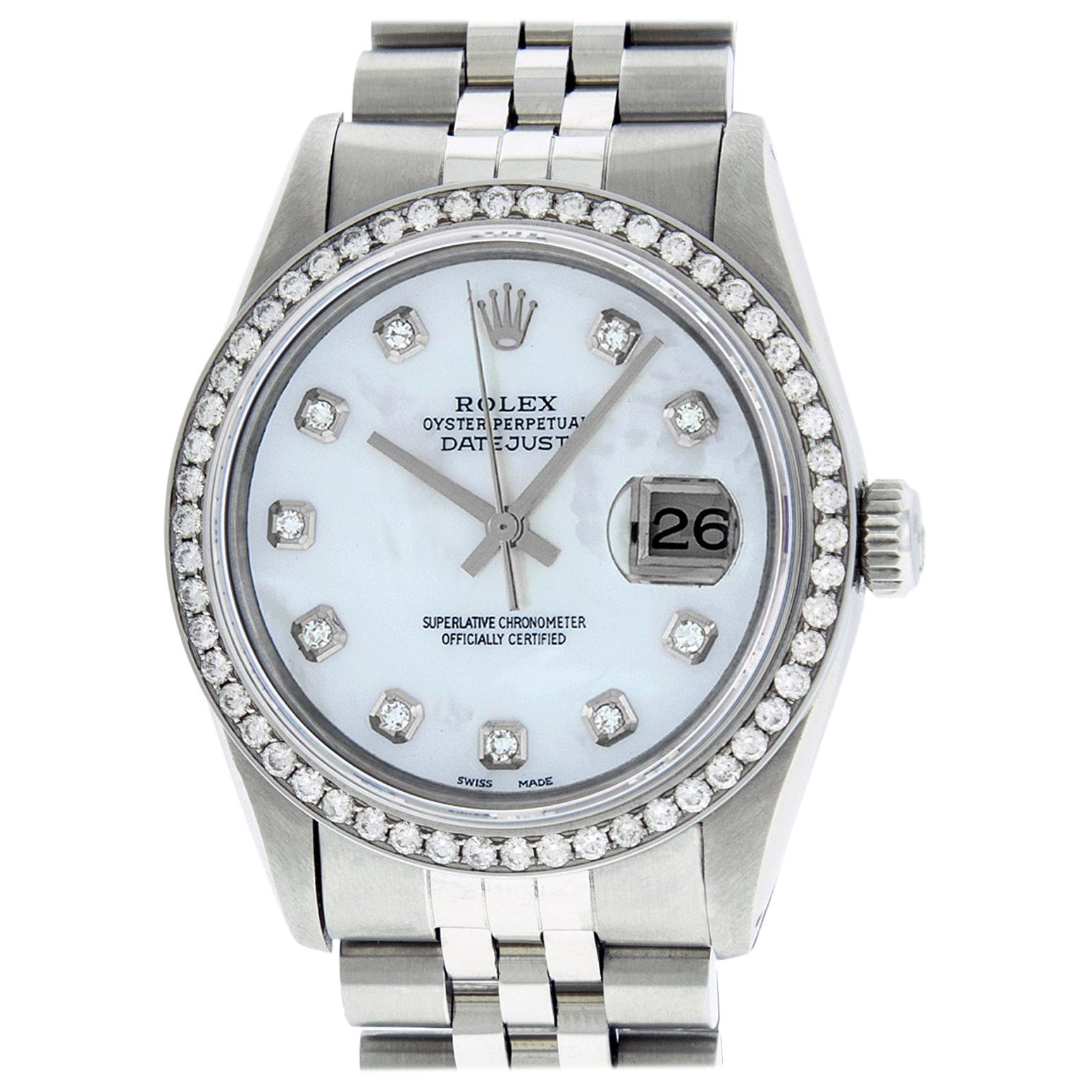 Rolex Men's Datejust Watch Stainless Steel Mother of Pearl Round Diamond Dial