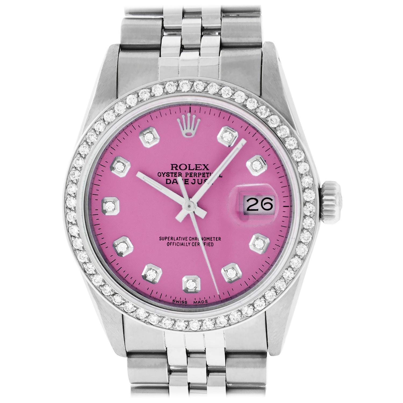 Rolex Men's Datejust Watch Stainless Steel Pink Diamond Dial
