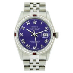Rolex Men's Datejust Watch SS and 18K White Gold Purple Roman Dial Diamond Bezel
