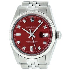 Rolex Men's Datejust Watch Stainless Steel and White Gold Red Diamond Dial