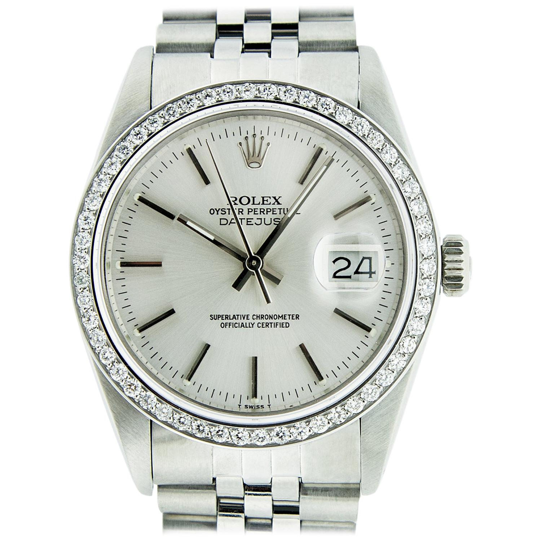 Rolex Men's Datejust Watch Stainless Steel Silver Index Dial Diamond Bezel