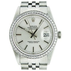 Rolex Men's Datejust Watch Stainless Steel Silver Index Dial Diamond Bezel