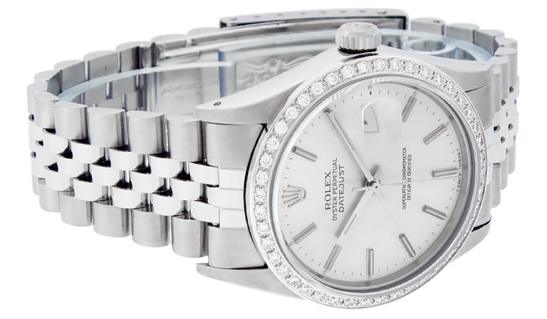 Round Cut Rolex Men's Datejust Watch SS and 18K White Gold Silver Index Dial Diamond Bezel For Sale