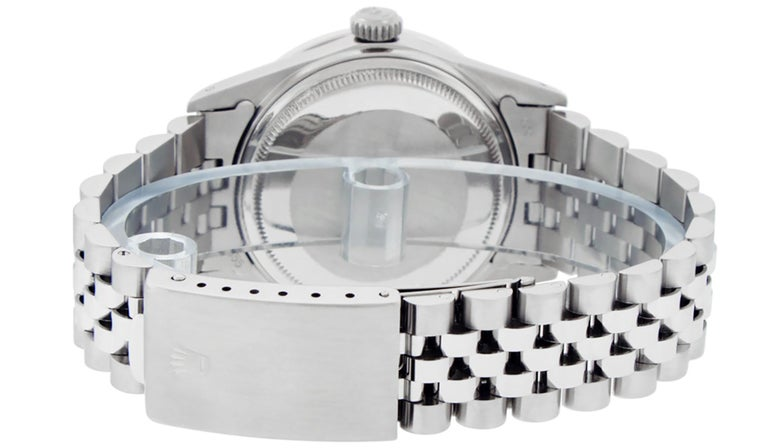 Rolex Men's Datejust Watch SS and 18K White Gold Silver Index Dial Diamond Bezel For Sale 1