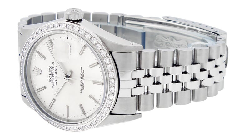 Rolex Men's Datejust Watch SS and 18K White Gold Silver Index Dial Diamond Bezel For Sale 2