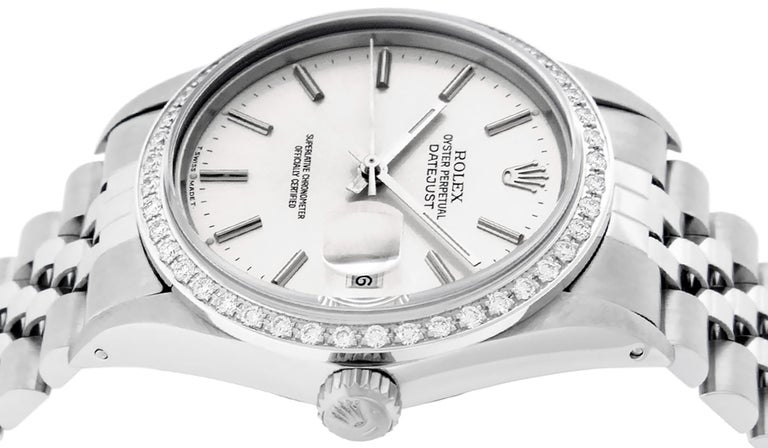 Rolex Men's Datejust Watch SS and 18K White Gold Silver Index Dial Diamond Bezel For Sale 3