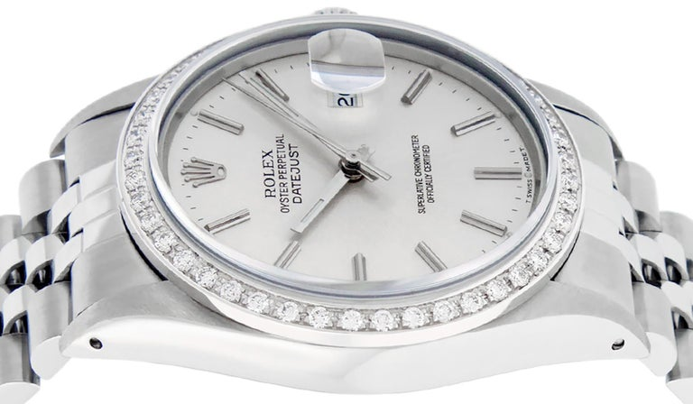 Rolex Men's Datejust Watch SS and 18K White Gold Silver Index Dial Diamond Bezel For Sale 4