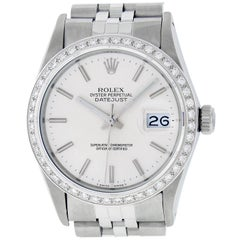 Rolex Men's Datejust Watch SS and 18K White Gold Silver Index Dial Diamond Bezel