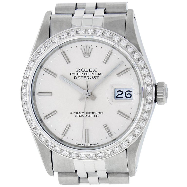 Rolex Men's Datejust Watch SS and 18K White Gold Silver Index Dial Diamond Bezel For Sale