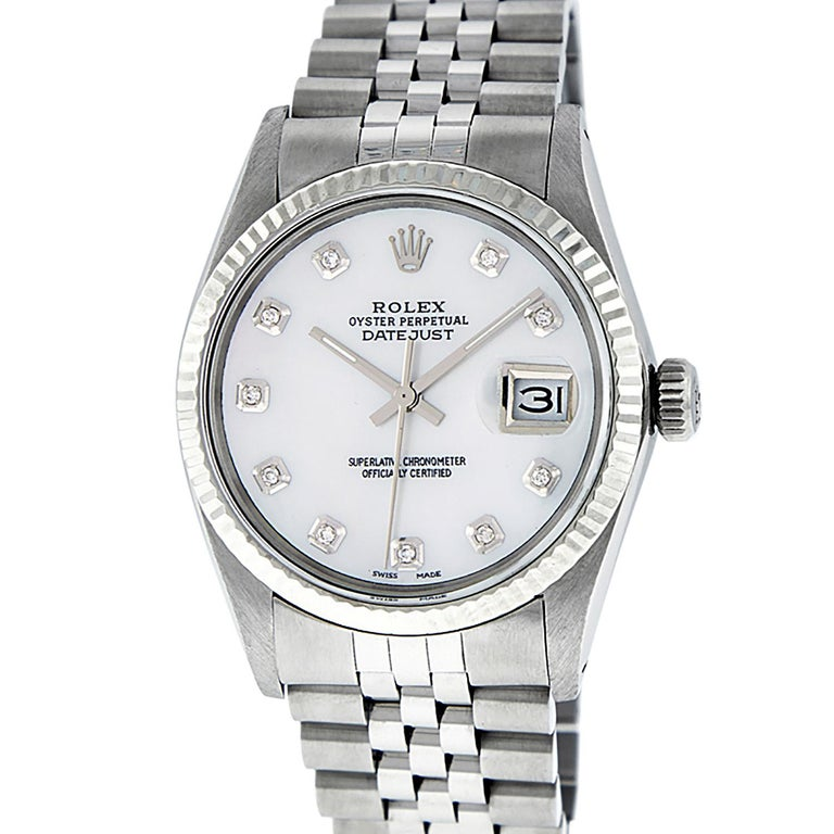 Round Cut Rolex Men's Datejust Watch S/Steel & White Gold Mother of Pearl Diamond Dial For Sale