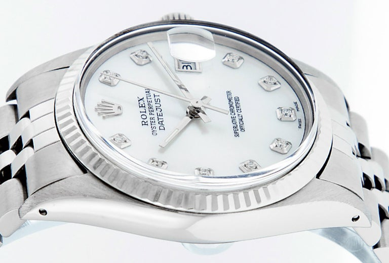 Rolex Men's Datejust Watch S/Steel & White Gold Mother of Pearl Diamond Dial In Good Condition For Sale In Los Angeles, CA