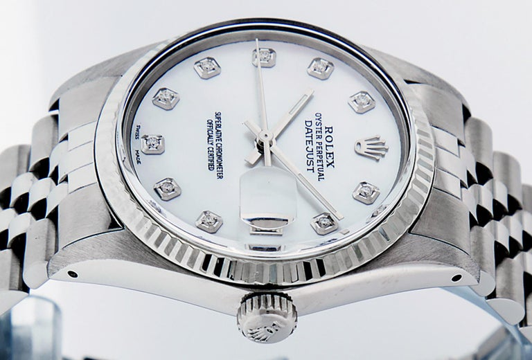 Women's or Men's Rolex Men's Datejust Watch S/Steel & White Gold Mother of Pearl Diamond Dial For Sale